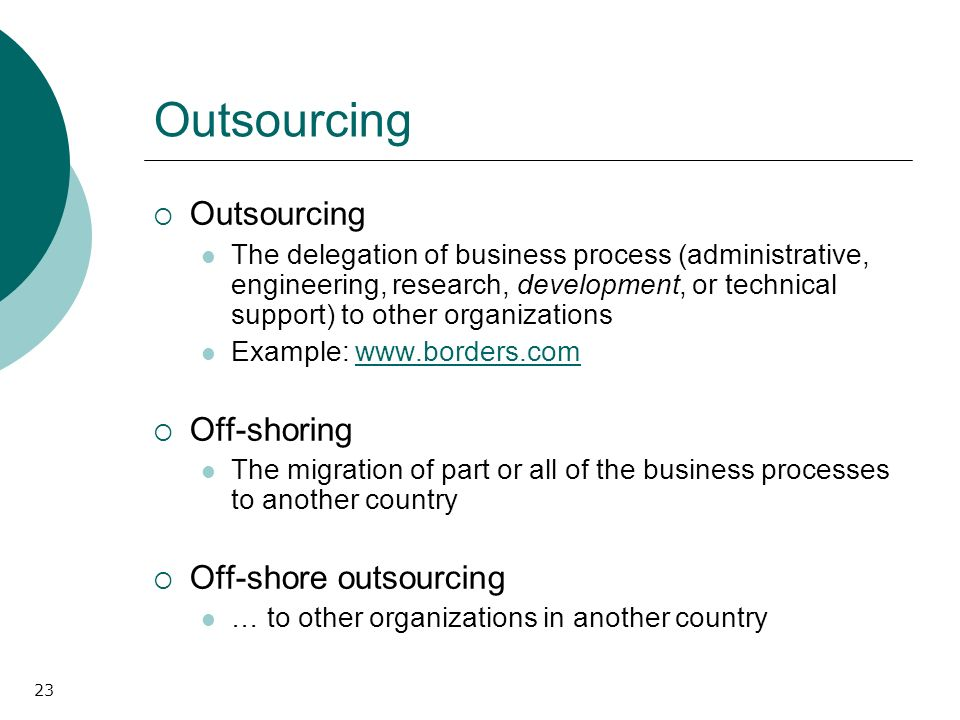 23 Outsourcing The delegation of business process (administrative, engineering, research, development, or technical support) to other organizations Ex