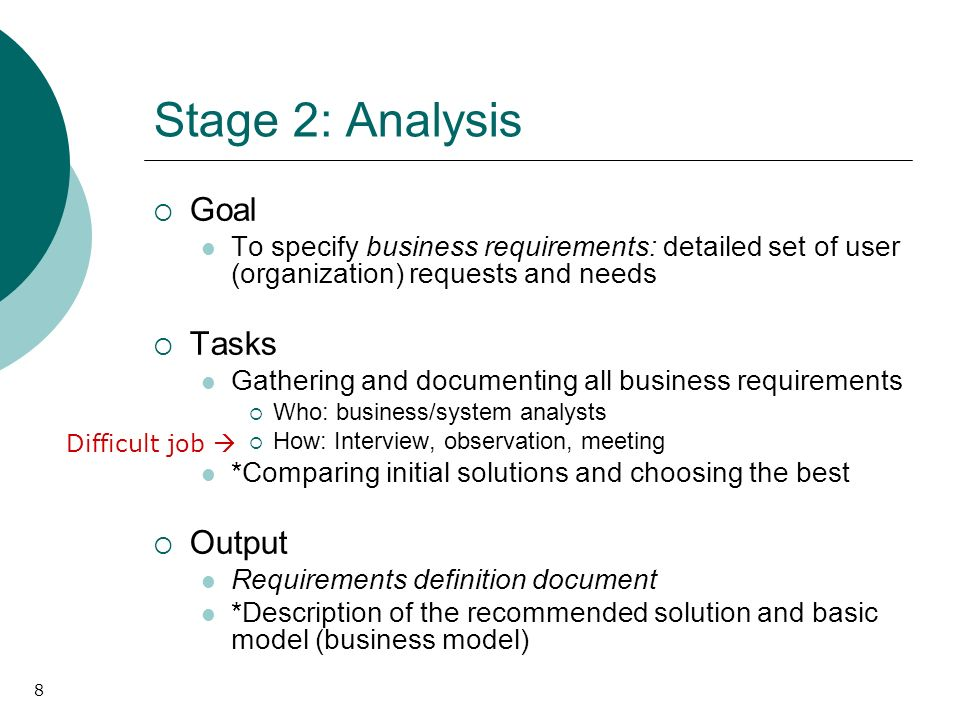 8 Stage 2: Analysis Goal To specify business requirements: detailed set of user (organization) requests and needs Tasks Gathering and documenting all business requirements Who: business/system analysts How: Interview, observation, meeting *Comparing initial solutions and choosing the best Output Requirements definition document *Description of the recommended solution and basic model (business model) Difficult job