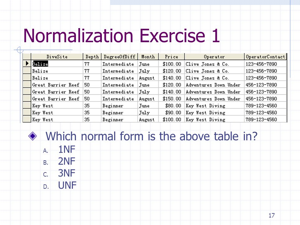 17 Normalization Exercise 1 Which normal form is the above table in A. 1NF B. 2NF C. 3NF D. UNF