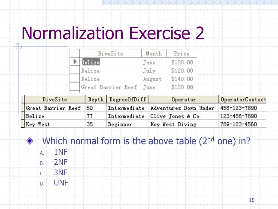 18 Normalization Exercise 2 Which normal form is the above table (2 nd one) in.