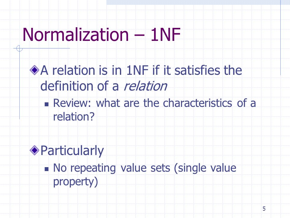 5 Normalization – 1NF A relation is in 1NF if it satisfies the definition of a relation Review: what are the characteristics of a relation.