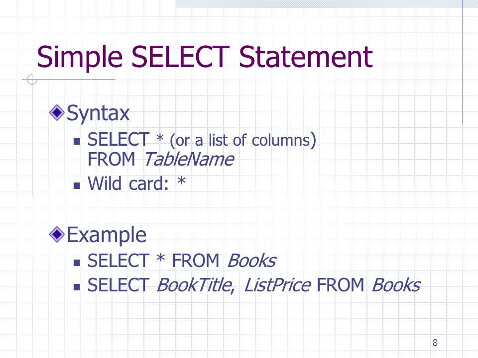 8 Simple SELECT Statement Syntax SELECT * (or a list of columns ) FROM TableName Wild card: * Example SELECT * FROM Books SELECT BookTitle, ListPrice FROM Books
