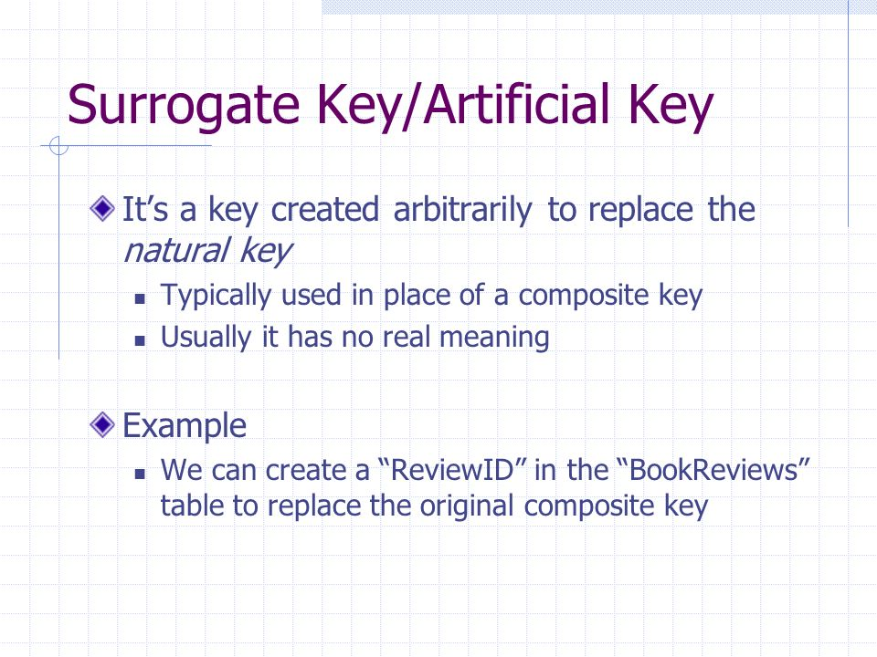 Surrogate Key/Artificial Key Its a key created arbitrarily to replace the natural key Typically used in place of a composite key Usually it has no real meaning Example We can create a ReviewID in the BookReviews table to replace the original composite key