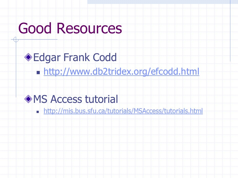 Good Resources Edgar Frank Codd http://www.db2tridex.org/efcodd.html MS Access tutorial http://mis.bus.sfu.ca/tutorials/MSAccess/tutorials.html