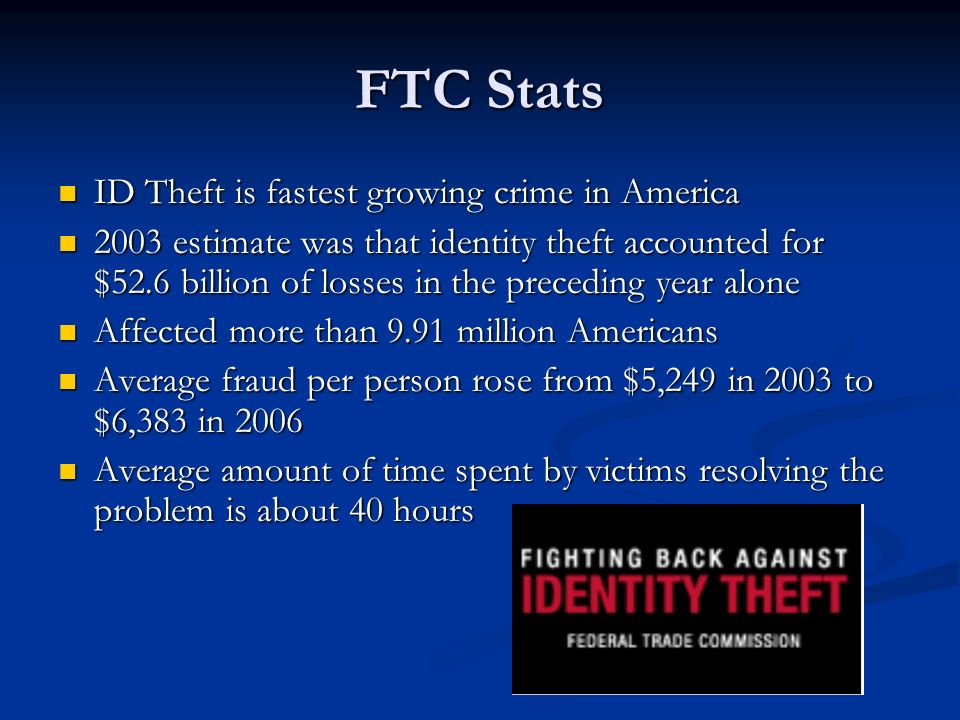 FTC Stats ID Theft is fastest growing crime in America ID Theft is fastest growing crime in America 2003 estimate was that identity theft accounted for $52.6 billion of losses in the preceding year alone 2003 estimate was that identity theft accounted for $52.6 billion of losses in the preceding year alone Affected more than 9.91 million Americans Affected more than 9.91 million Americans Average fraud per person rose from $5,249 in 2003 to $6,383 in 2006 Average fraud per person rose from $5,249 in 2003 to $6,383 in 2006 Average amount of time spent by victims resolving the problem is about 40 hours Average amount of time spent by victims resolving the problem is about 40 hours