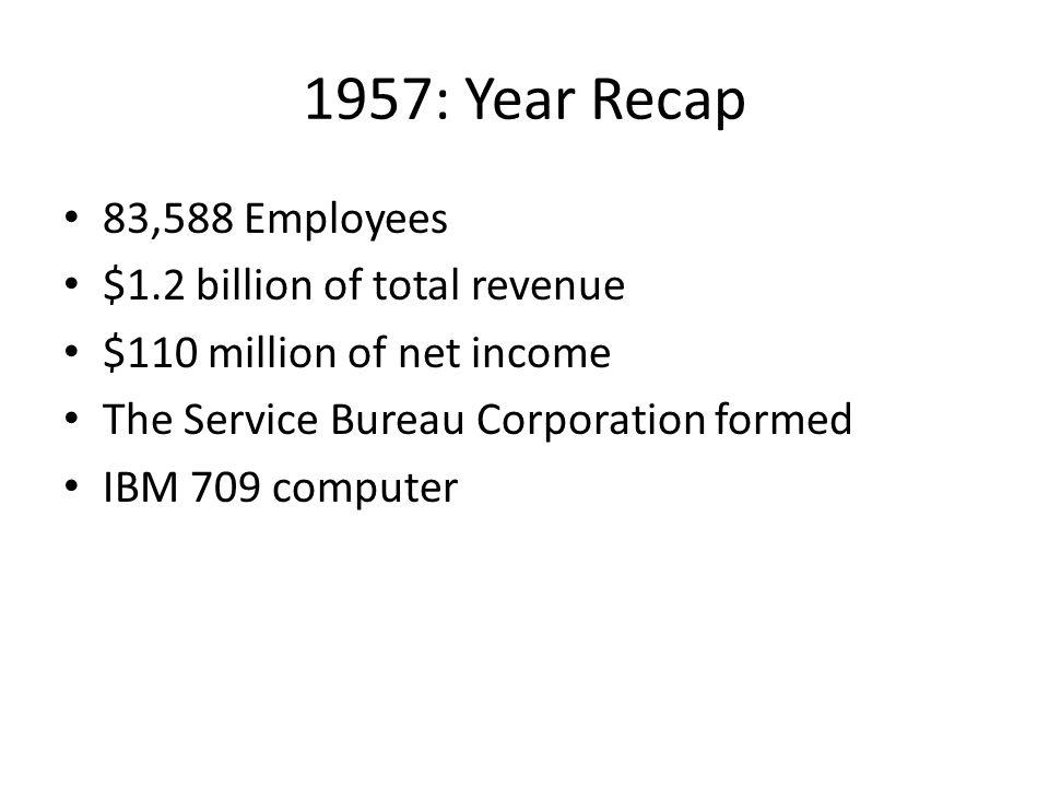 1957: Year Recap 83,588 Employees $1.2 billion of total revenue $110 million of net income The Service Bureau Corporation formed IBM 709 computer