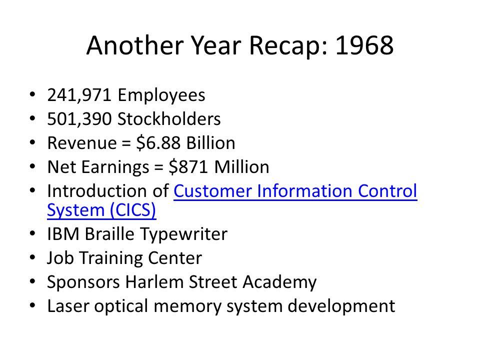 Another Year Recap: 1968 241,971 Employees 501,390 Stockholders Revenue = $6.88 Billion Net Earnings = $871 Million Introduction of Customer Informati