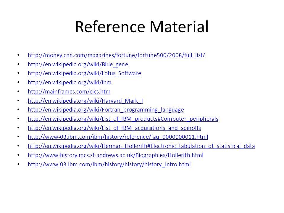 Reference Material http://money.cnn.com/magazines/fortune/fortune500/2008/full_list/ http://en.wikipedia.org/wiki/Blue_gene http://en.wikipedia.org/wi