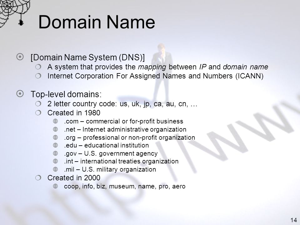 14 Domain Name [Domain Name System (DNS)] A system that provides the mapping between IP and domain name Internet Corporation For Assigned Names and Nu