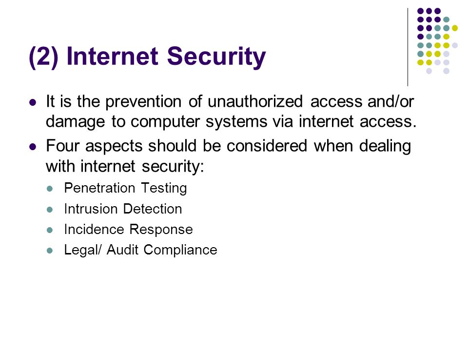 (2) Internet Security It is the prevention of unauthorized access and/or damage to computer systems via internet access.