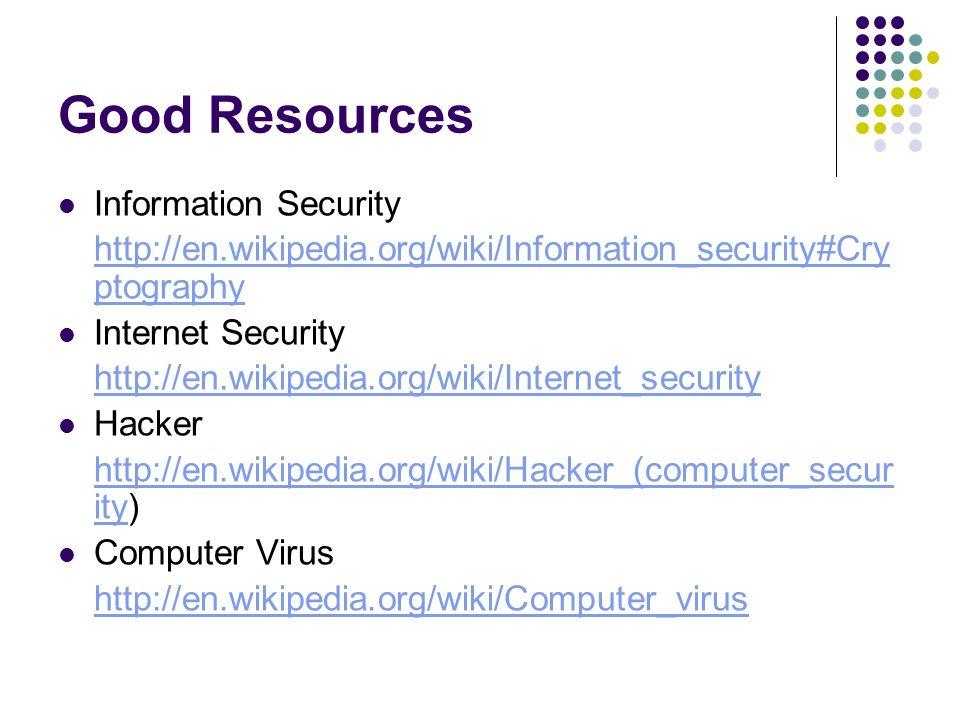 Good Resources Information Security http://en.wikipedia.org/wiki/Information_security#Cry ptography Internet Security http://en.wikipedia.org/wiki/Internet_security Hacker http://en.wikipedia.org/wiki/Hacker_(computer_secur ityhttp://en.wikipedia.org/wiki/Hacker_(computer_secur ity) Computer Virus http://en.wikipedia.org/wiki/Computer_virus