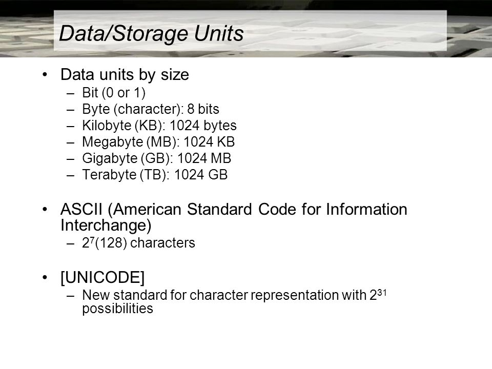 Data/Storage Units Data units by size –Bit (0 or 1) –Byte (character): 8 bits –Kilobyte (KB): 1024 bytes –Megabyte (MB): 1024 KB –Gigabyte (GB): 1024 MB –Terabyte (TB): 1024 GB ASCII (American Standard Code for Information Interchange) –2 7 (128) characters [UNICODE] –New standard for character representation with 2 31 possibilities