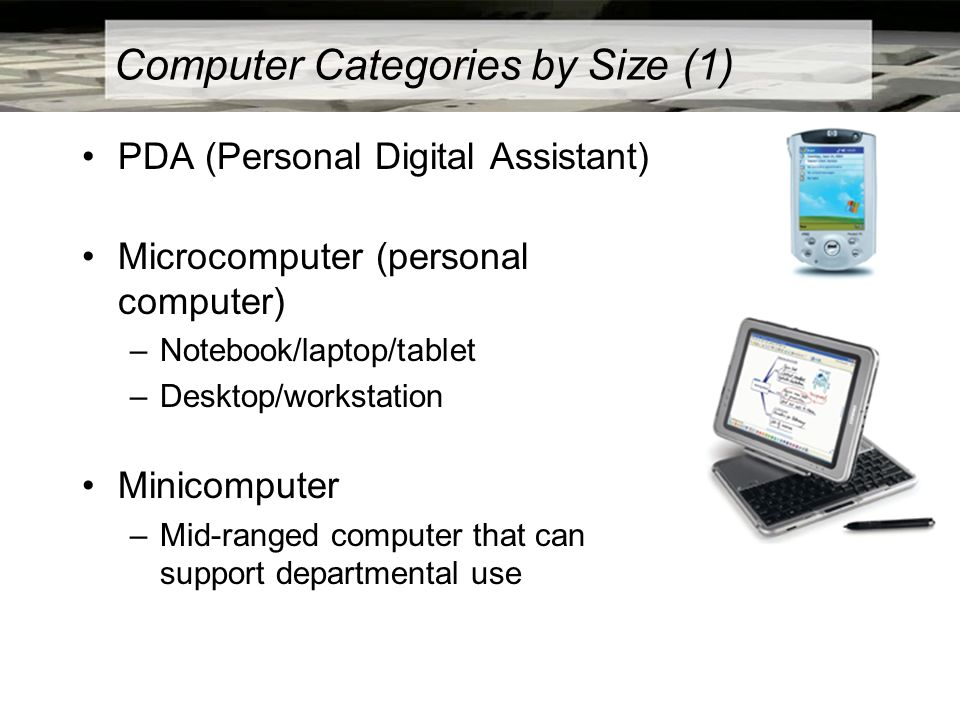 Computer Categories by Size (1) PDA (Personal Digital Assistant) Microcomputer (personal computer) –Notebook/laptop/tablet –Desktop/workstation Minico