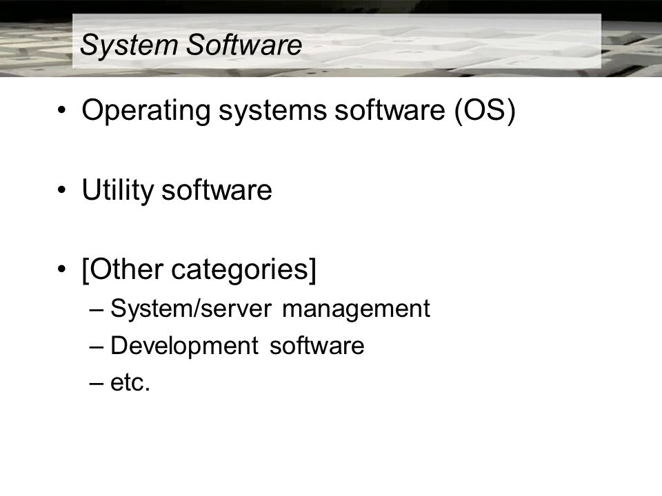 System Software Operating systems software (OS) Utility software [Other categories] –System/server management –Development software –etc.