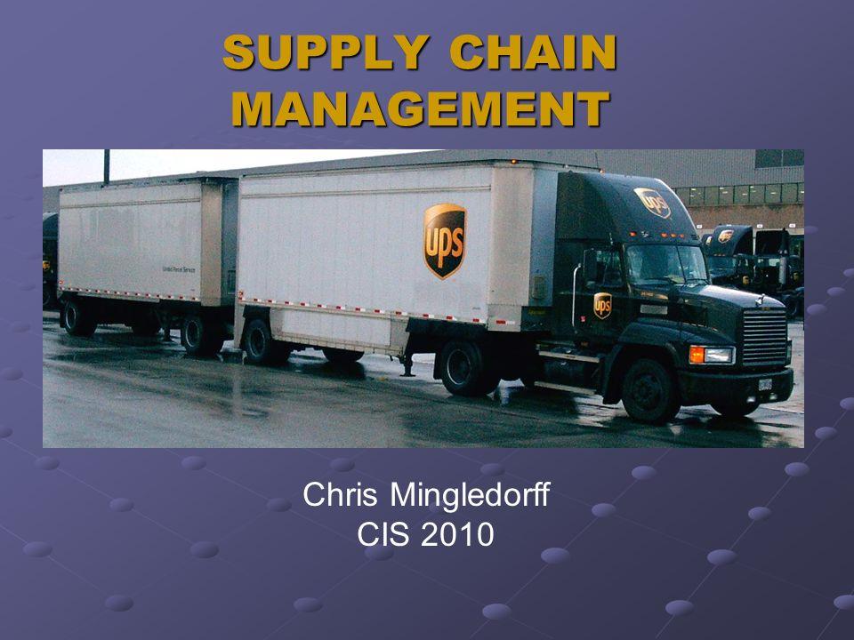 SUPPLY CHAIN MANAGEMENT Chris Mingledorff CIS 2010