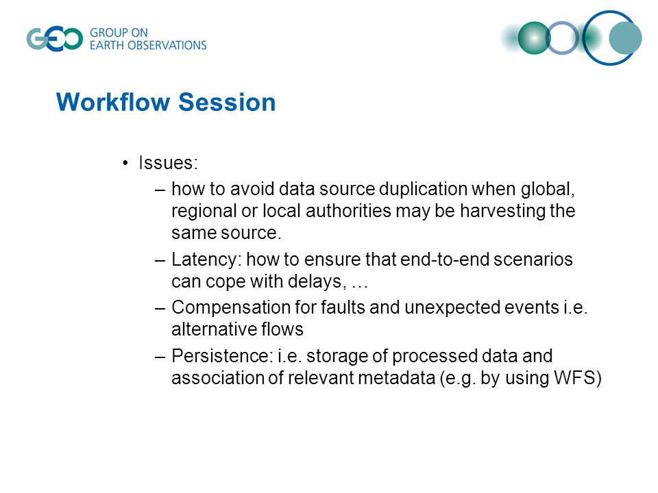 Workflow Session Issues: –how to avoid data source duplication when global, regional or local authorities may be harvesting the same source. –Latency: