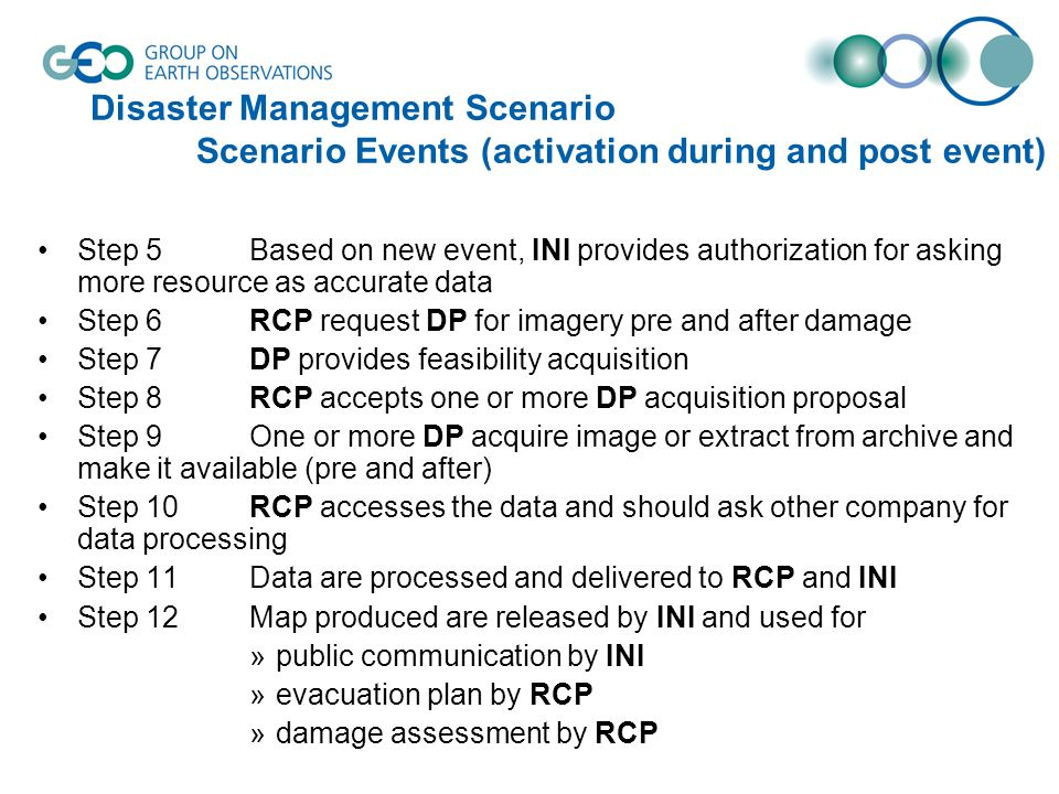 Disaster Management Scenario Scenario Events (activation during and post event) Step 5Based on new event, INI provides authorization for asking more resource as accurate data Step 6RCP request DP for imagery pre and after damage Step 7DP provides feasibility acquisition Step 8RCP accepts one or more DP acquisition proposal Step 9One or more DP acquire image or extract from archive and make it available (pre and after) Step 10 RCP accesses the data and should ask other company for data processing Step 11 Data are processed and delivered to RCP and INI Step 12 Map produced are released by INI and used for »public communication by INI »evacuation plan by RCP »damage assessment by RCP