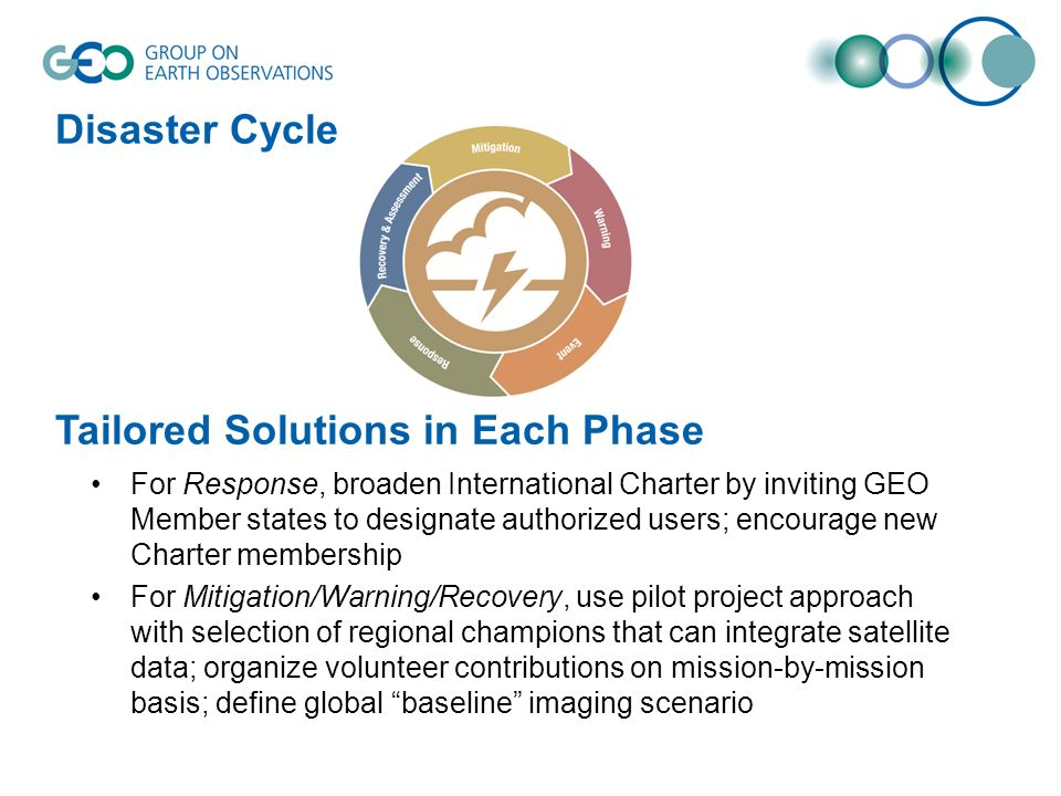 Disaster Cycle Tailored Solutions in Each Phase For Response, broaden International Charter by inviting GEO Member states to designate authorized user