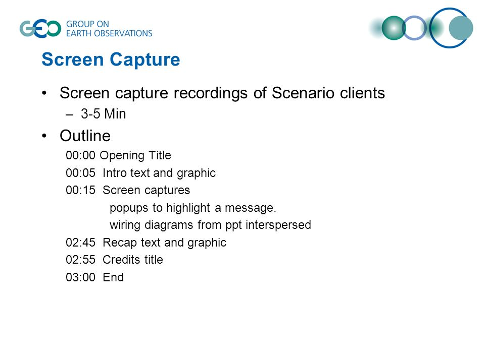 Screen Capture Screen capture recordings of Scenario clients –3-5 Min Outline 00:00 Opening Title 00:05 Intro text and graphic 00:15 Screen captures p