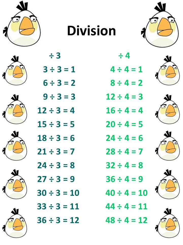 Division ÷ 3 3 ÷ 3 = 1 6 ÷ 3 = 2 9 ÷ 3 = 3 12 ÷ 3 = 4 15 ÷ 3 = 5 18 ÷ 3 = 6 21 ÷ 3 = 7 24 ÷ 3 = 8 27 ÷ 3 = 9 30 ÷ 3 = 10 33 ÷ 3 = 11 36 ÷ 3 = 12 ÷ 4 4