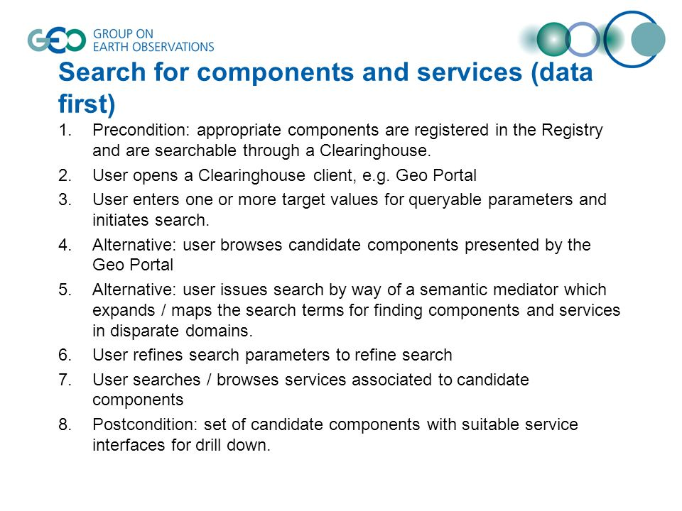 Search for components and services (data first) 1.Precondition: appropriate components are registered in the Registry and are searchable through a Clearinghouse.