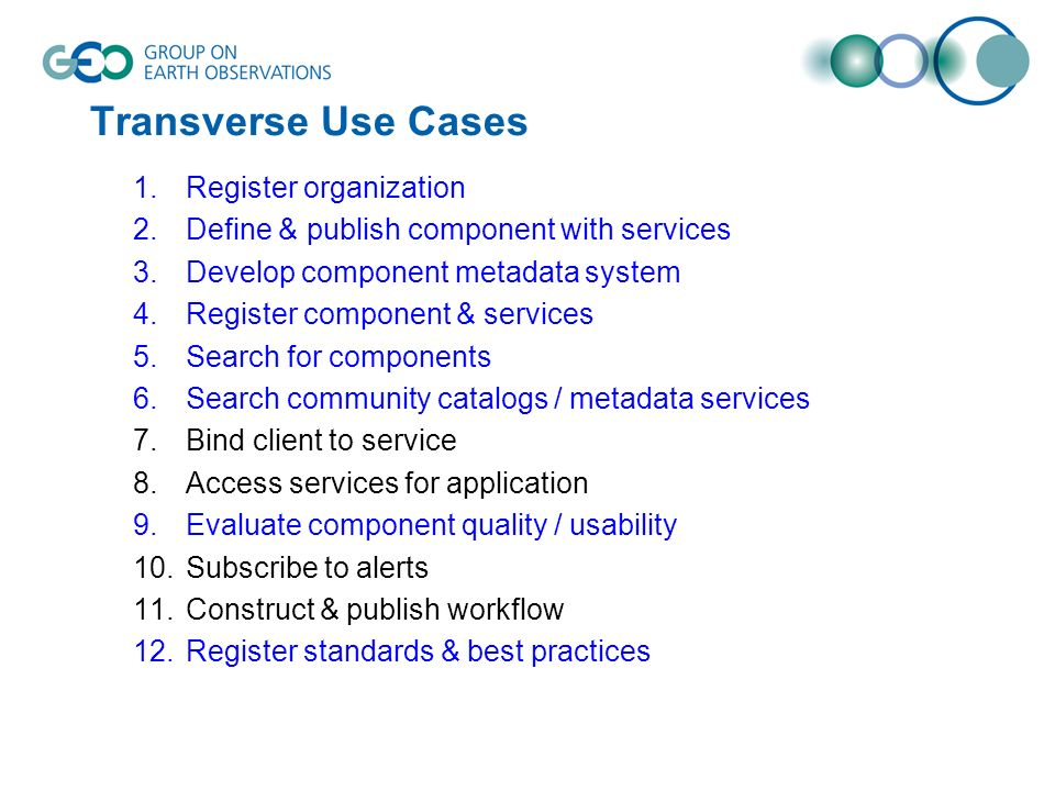 Transverse Use Cases 1.Register organization 2.Define & publish component with services 3.Develop component metadata system 4.Register component & services 5.Search for components 6.Search community catalogs / metadata services 7.Bind client to service 8.Access services for application 9.Evaluate component quality / usability 10.Subscribe to alerts 11.Construct & publish workflow 12.Register standards & best practices