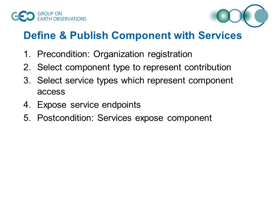 Define & Publish Component with Services 1.Precondition: Organization registration 2.Select component type to represent contribution 3.Select service types which represent component access 4.Expose service endpoints 5.Postcondition: Services expose component