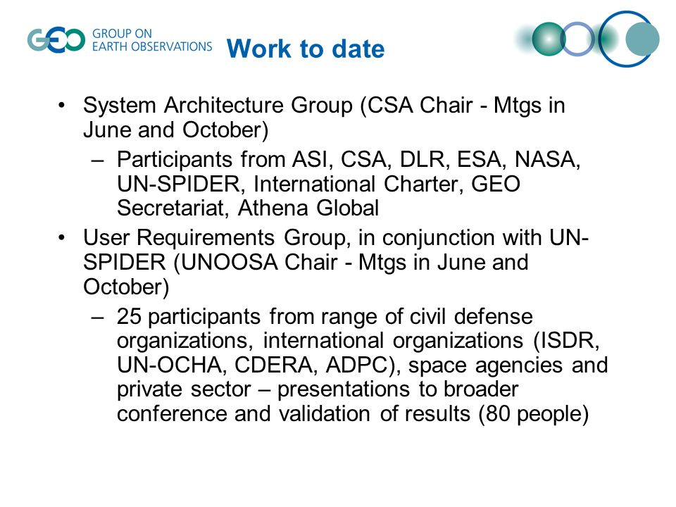 Work to date System Architecture Group (CSA Chair - Mtgs in June and October) –Participants from ASI, CSA, DLR, ESA, NASA, UN-SPIDER, International Ch