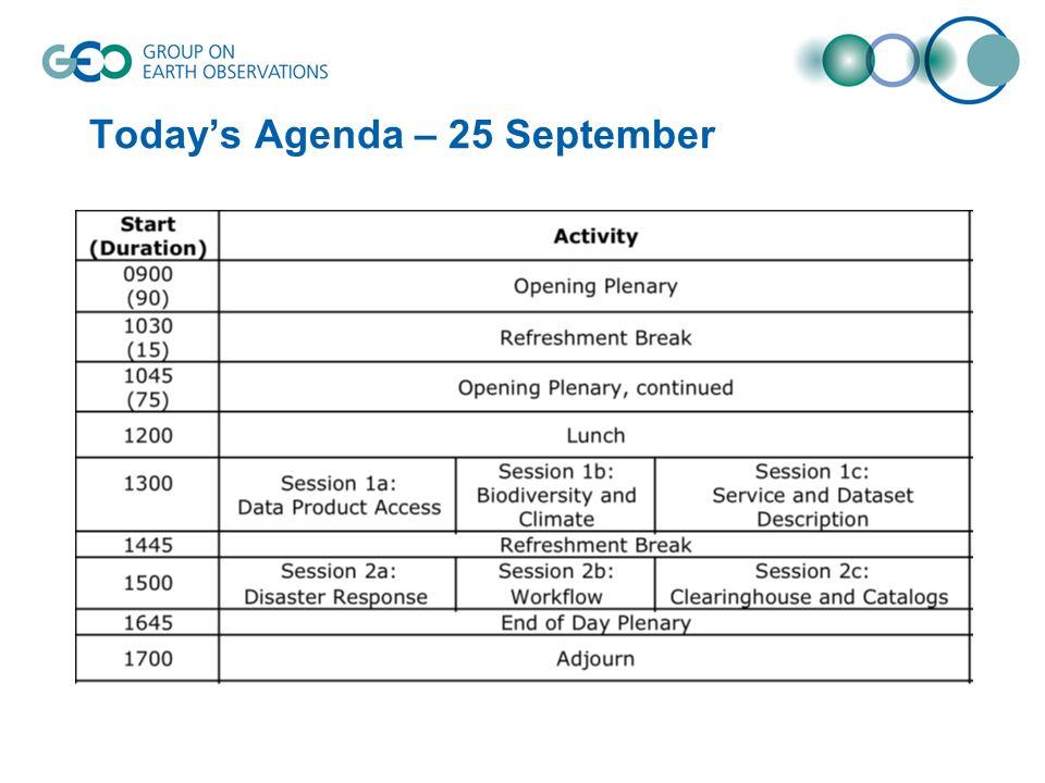 Todays Agenda – 25 September