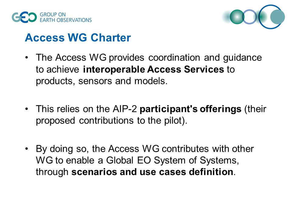 Access WG Charter The Access WG provides coordination and guidance to achieve interoperable Access Services to products, sensors and models. This reli