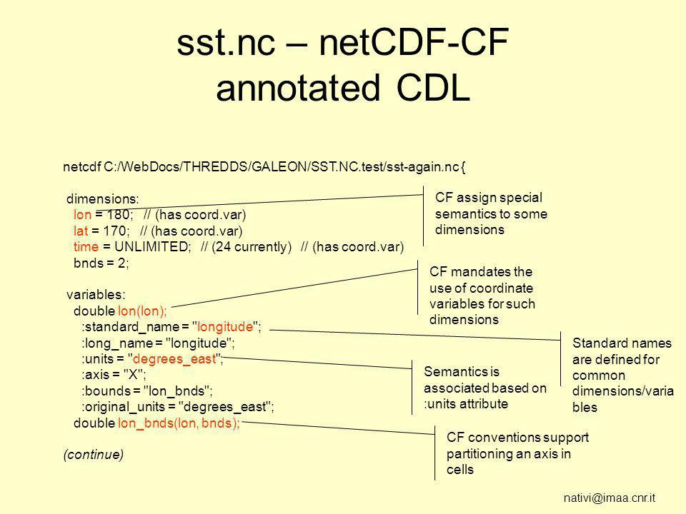 nativi@imaa.cnr.it sst.nc – netCDF-CF annotated CDL netcdf C:/WebDocs/THREDDS/GALEON/SST.NC.test/sst-again.nc { dimensions: lon = 180; // (has coord.var) lat = 170; // (has coord.var) time = UNLIMITED; // (24 currently) // (has coord.var) bnds = 2; variables: double lon(lon); :standard_name = longitude ; :long_name = longitude ; :units = degrees_east ; :axis = X ; :bounds = lon_bnds ; :original_units = degrees_east ; double lon_bnds(lon, bnds); (continue) CF assign special semantics to some dimensions CF mandates the use of coordinate variables for such dimensions Semantics is associated based on :units attribute CF conventions support partitioning an axis in cells Standard names are defined for common dimensions/varia bles