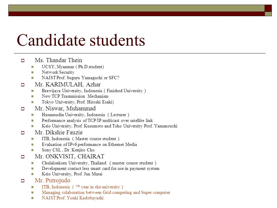 Candidate students Ms. Thandar Thein UCSY, Myanmar ( Ph.D student) Network Security NAIST Prof.