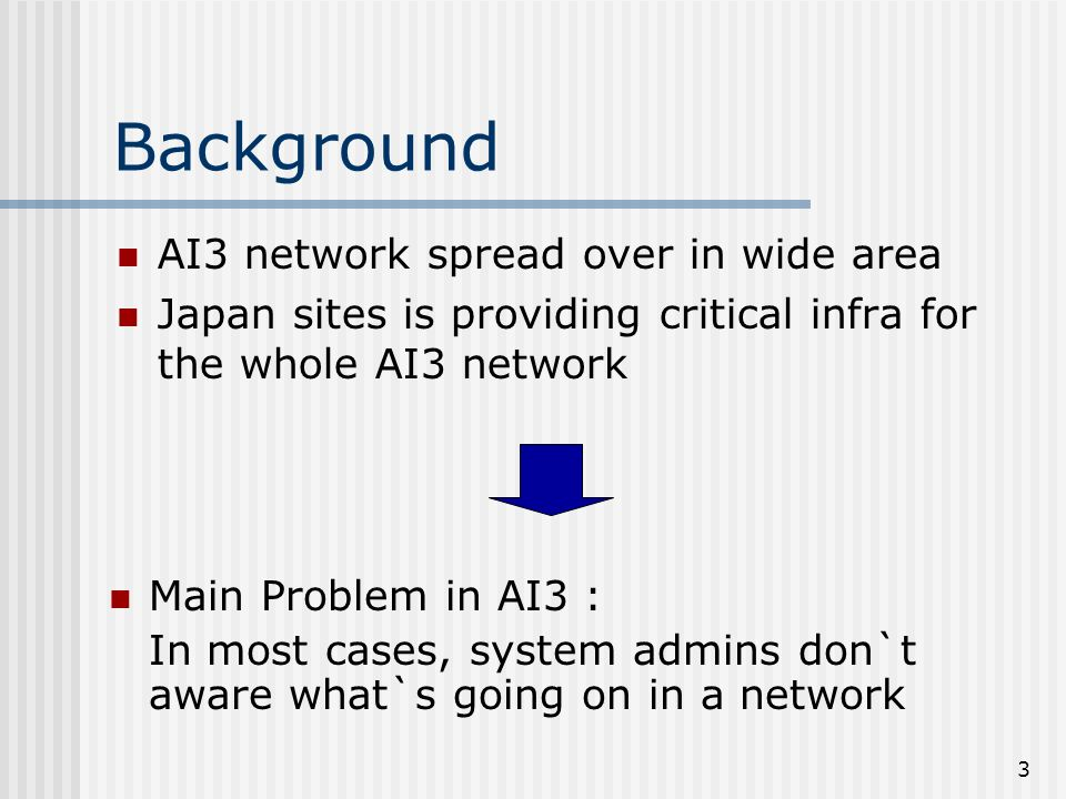 3 Background AI3 network spread over in wide area Japan sites is providing critical infra for the whole AI3 network Main Problem in AI3 : In most cases, system admins don`t aware what`s going on in a network