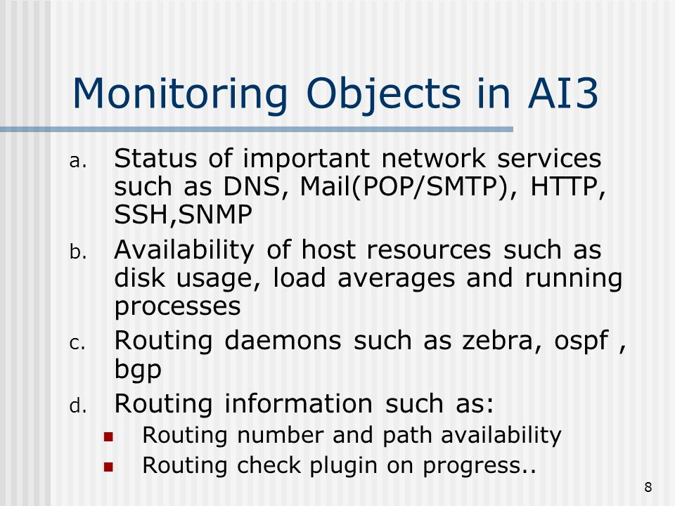 8 Monitoring Objects in AI3 a.