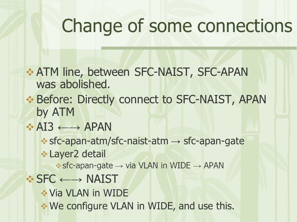 Change of some connections ATM line, between SFC-NAIST, SFC-APAN was abolished.