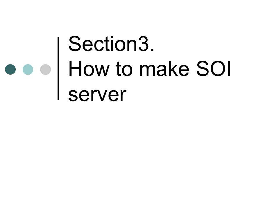 Section3. How to make SOI server