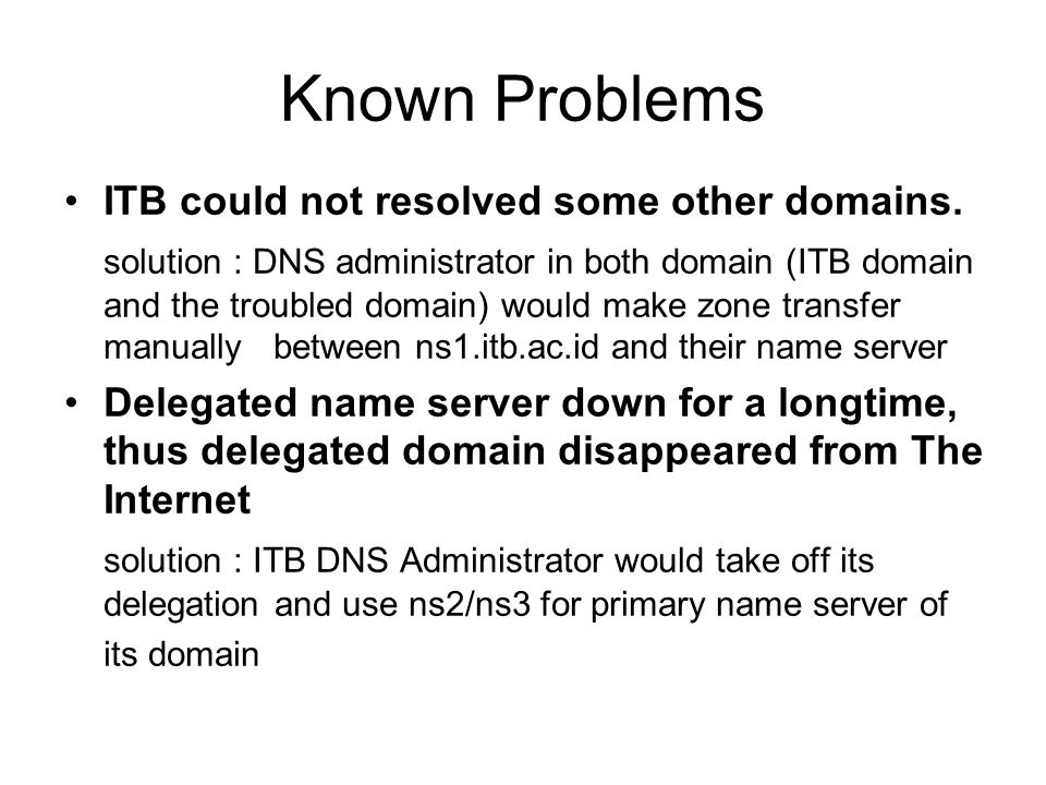 Known Problems ITB could not resolved some other domains.