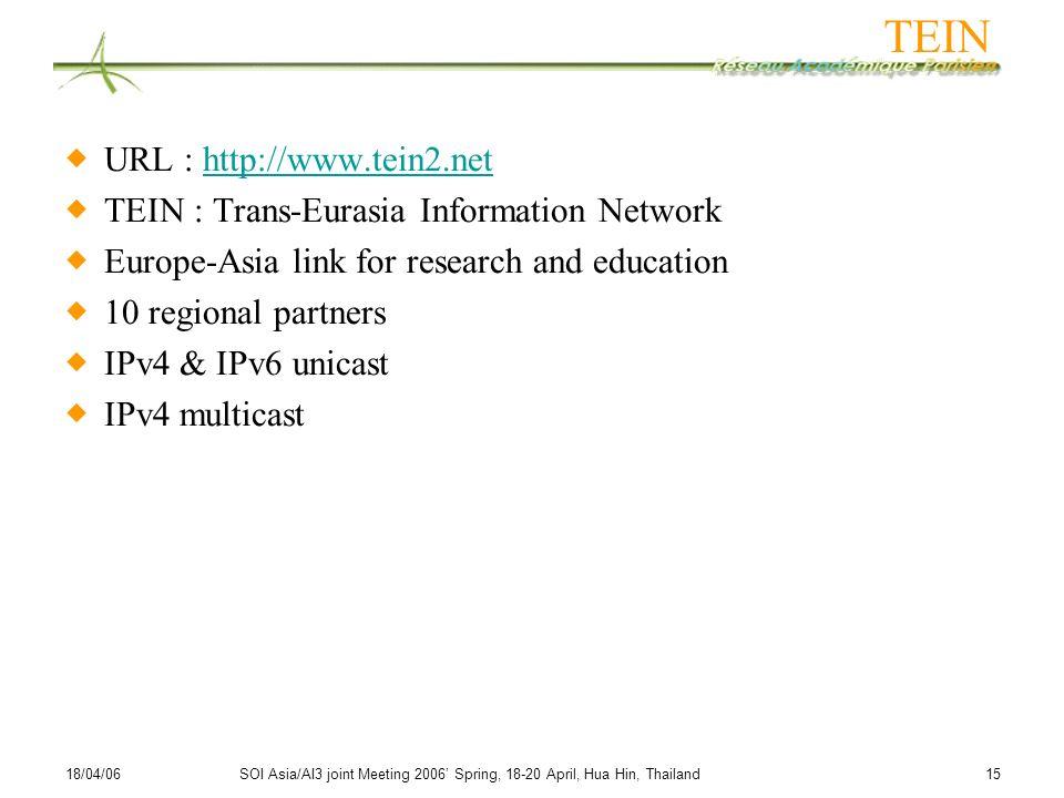 18/04/06SOI Asia/AI3 joint Meeting 2006 Spring, 18-20 April, Hua Hin, Thailand 15 TEIN URL : http://www.tein2.nethttp://www.tein2.net TEIN : Trans-Eur