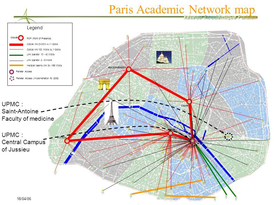 18/04/06SOI Asia/AI3 joint Meeting 2006 Spring, 18-20 April, Hua Hin, Thailand 7 Paris Academic Network map UPMC : Central Campus of Jussieu UPMC : Sa