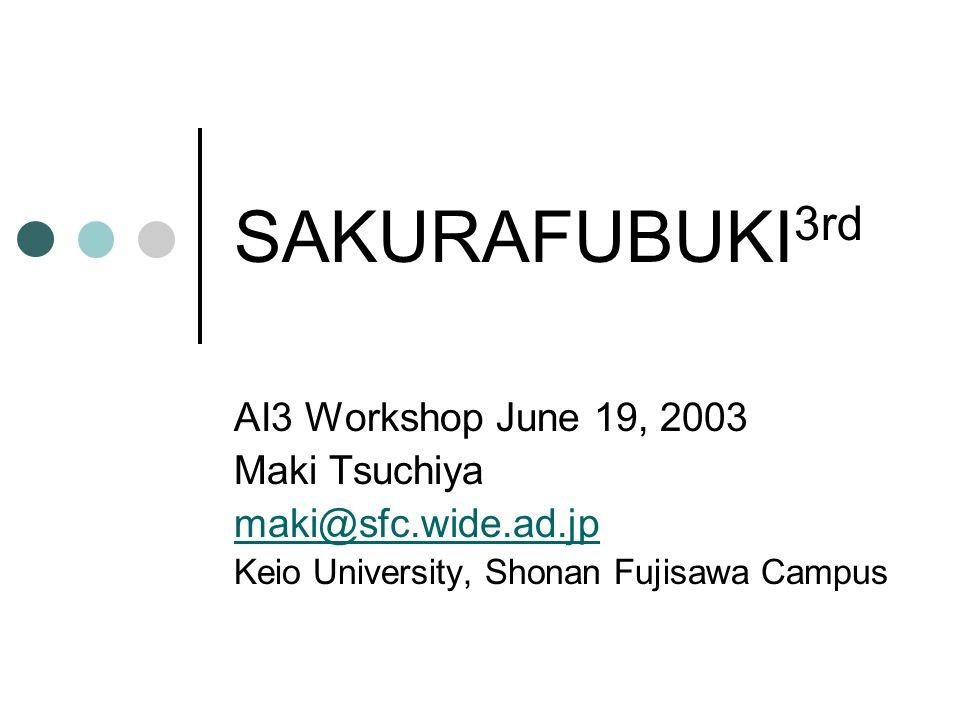 SAKURAFUBUKI 3rd AI3 Workshop June 19, 2003 Maki Tsuchiya maki@sfc.wide.ad.jp Keio University, Shonan Fujisawa Campus
