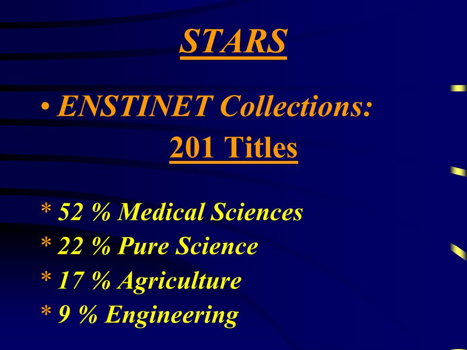 ENSTINET Collections: 201 Titles *5*52 % Medical Sciences *2*22 % Pure Science *1*17 % Agriculture *9*9 % Engineering