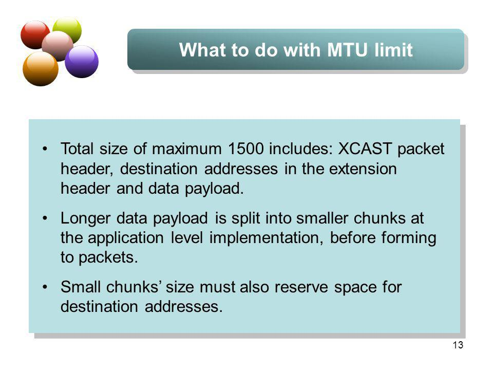 13 What to do with MTU limit Total size of maximum 1500 includes: XCAST packet header, destination addresses in the extension header and data payload.