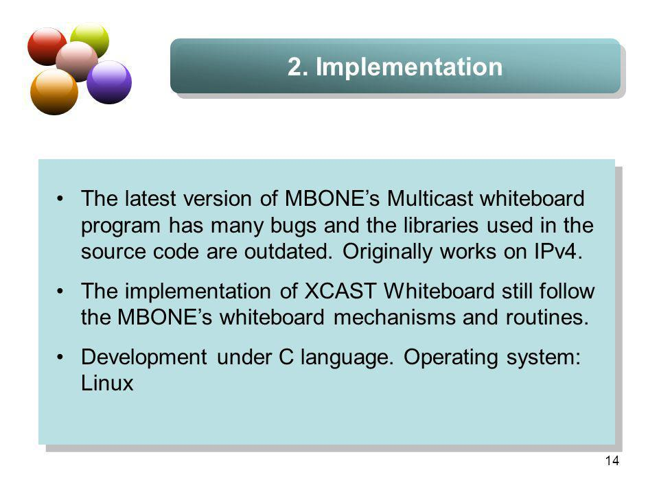 14 2. Implementation The latest version of MBONEs Multicast whiteboard program has many bugs and the libraries used in the source code are outdated. O
