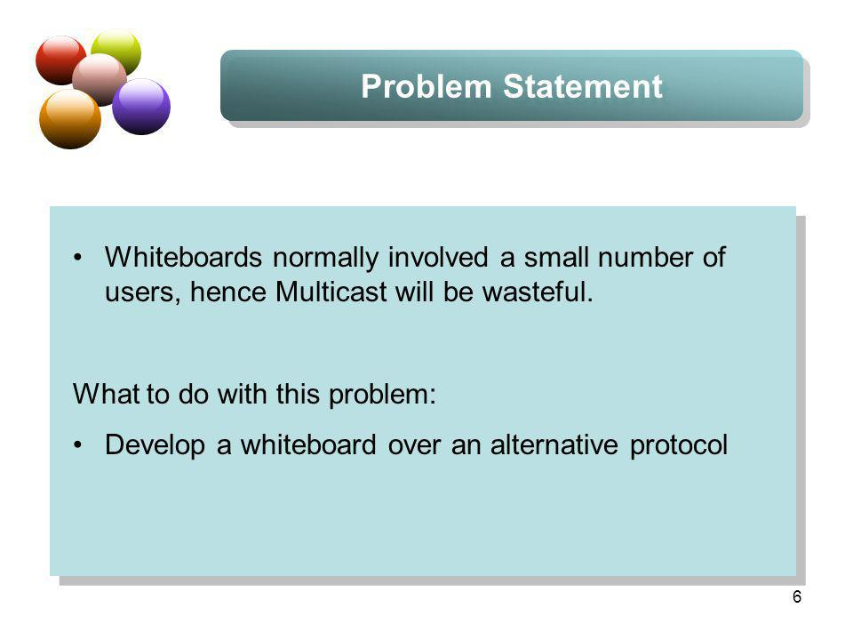 6 Problem Statement Whiteboards normally involved a small number of users, hence Multicast will be wasteful. What to do with this problem: Develop a w