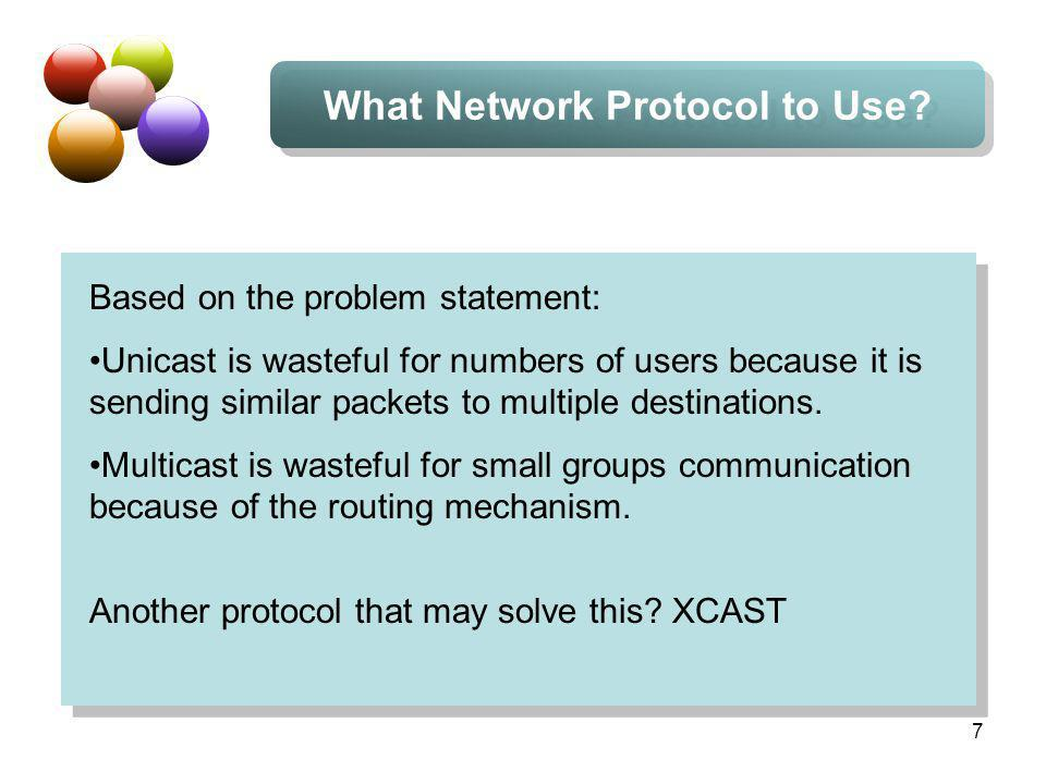 8 XCAST XCAST (eXplicit Unicast): a multi-destination delivery system in the network.