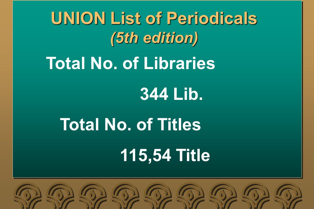 UNION List of Periodicals (5th edition) Total No.of Libraries 344 Lib.