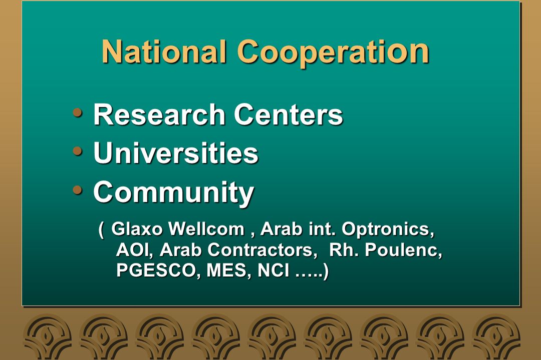 National Cooperati on Research Centers Research Centers Universities Universities Community Community ( Glaxo Wellcom, Arab int.
