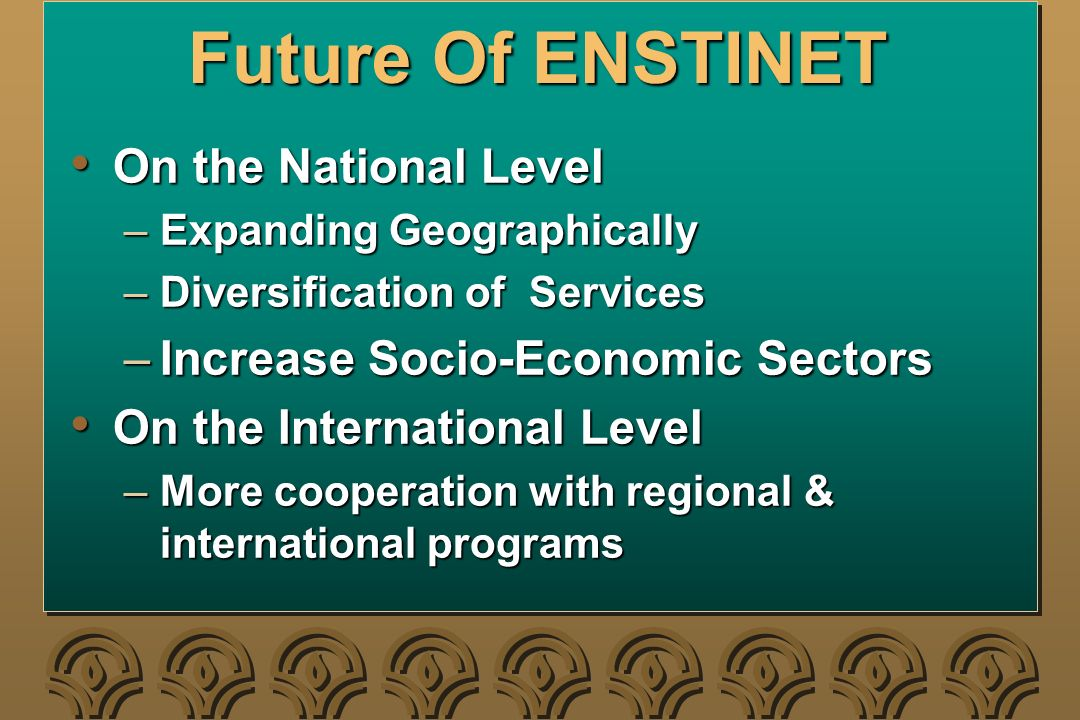 Future Of ENSTINET On the National Level On the National Level –Expanding Geographically –Diversification of Services –Increase Socio-Economic Sectors On the International Level On the International Level –More cooperation with regional & international programs