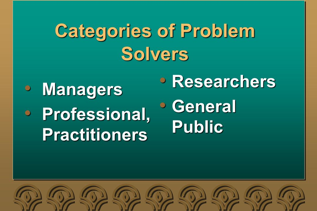 Categories of Problem Solvers Managers Managers Professional, Practitioners Professional, Practitioners Researchers Researchers General Public General