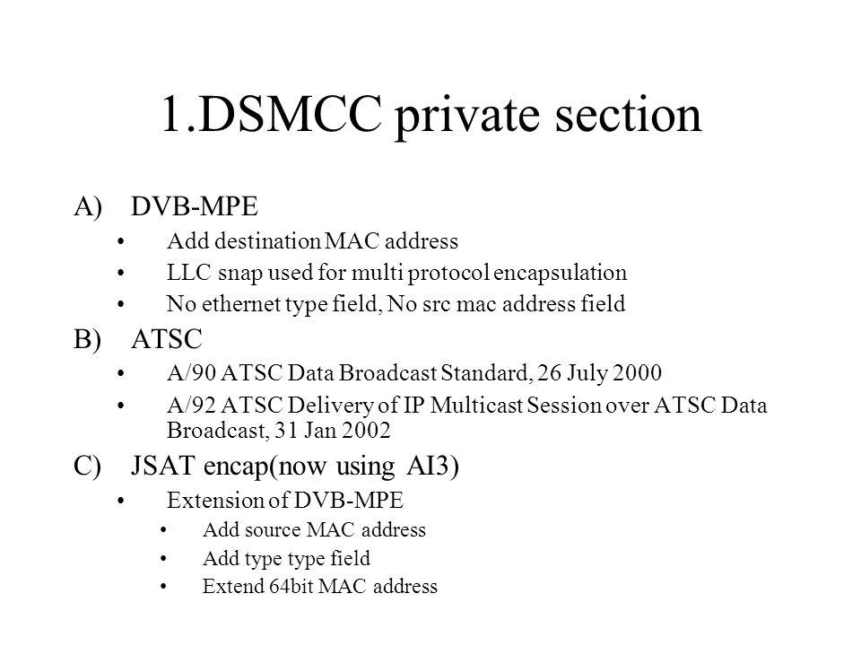 1.DSMCC private section A)DVB-MPE Add destination MAC address LLC snap used for multi protocol encapsulation No ethernet type field, No src mac address field B)ATSC A/90 ATSC Data Broadcast Standard, 26 July 2000 A/92 ATSC Delivery of IP Multicast Session over ATSC Data Broadcast, 31 Jan 2002 C)JSAT encap(now using AI3) Extension of DVB-MPE Add source MAC address Add type type field Extend 64bit MAC address
